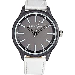 Tokyobay T366-WH Damen Edelstahl Lederband Grau Zifferblatt Runde Watch