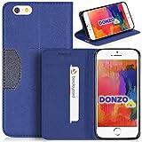 DONZO Tasche Handyhülle Cover Case für das Apple iPhone 6 / 6S in Blau Wallet Cross als Etui seitlich aufklappbar im Boo