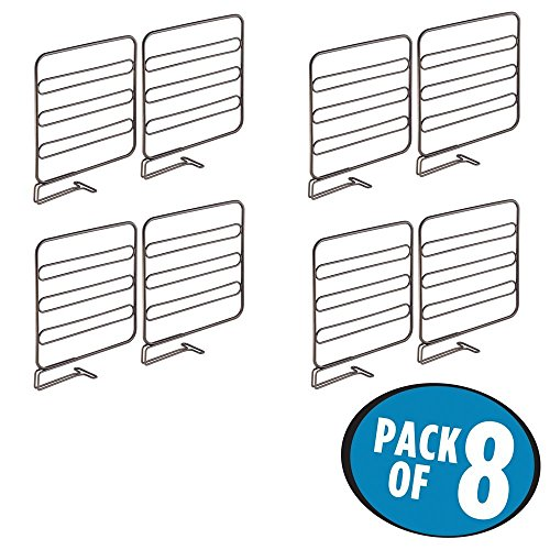 mDesign 8er-Set Regaltrenner für den Kleiderschrank – praktisches Kleiderschranksystem aus Metall – nützliches Regalsystem ohne Bohren – bronze