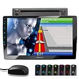 XOMAX XM-2DN1005 Autoradio con mirrorlink, navigatore GPS, vivavoce bluetooth, schermo touch screen 10,1 pollici / 25,7 cm, RDS, DVD, SD, USB, 2 DIN