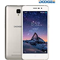 Smartphones, DOOGEE X10 Unlocked Dual SIM Mobile Phones - 3G Android 6.0 Phone - 5.0 Inch IPS Screen - 3360mAh Large Capacity - 5MP Camera With Flash - MT6570 cortex-A7@1.3 GHz - 8GB ROM - Gold
