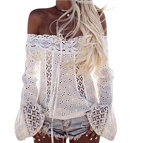 JiaMeng Damen Langarm Puff Sleeve Off Schulter Lace Slash Hals Gedruckt Floral Top S, M, L, XL (3XL, Weiß)