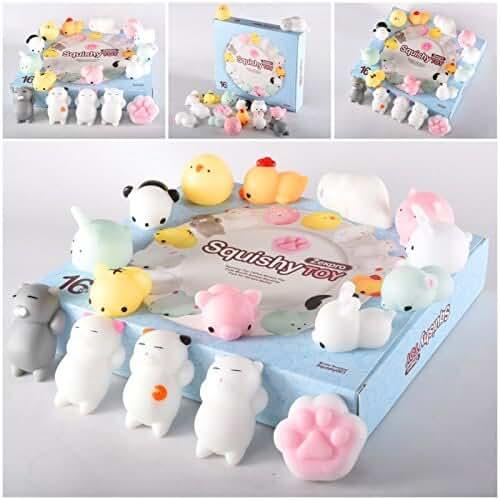 juguetes kawaii Zekpro - Squishy Kawaii (paquete de 16) | Tiernos squishies de animales que recuperan su forma lentamente | Gatos, panda, cerdos, conejos | Divertidos, coloridos, de silicona no tóxica