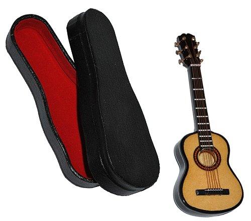 Miniatur Gitarre mit Kasten - Holz Maßstab 1:12 - dunkel braun Konzertgitarre Puppenhaus - Musikinstrument Musik Instrument Gitarrenkasten (Lackierte Gitarre)
