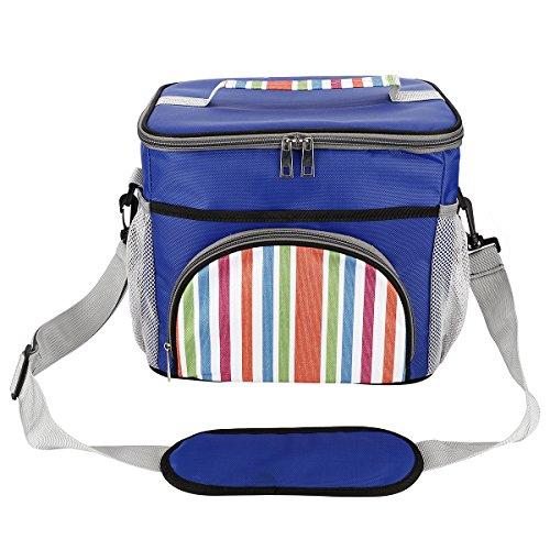 Scheam 15 l grande borsa termica isolato picnic lunchbox pranzo al sacco fredda borsa con tracolla per cibo bevande vino lavoro famiglia viaggio uomo e donna, 29x22x24cm/11.4''x8.7''x9.4'' (blu)