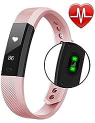 Fitness Tracker Smart Horloge avec cœur de Moniteur étape Tracker Compteur de calories Call SMS tracker whatsapp, écran tactile, bracelet étanche Podomètre pour iOS Android antibruit Noir