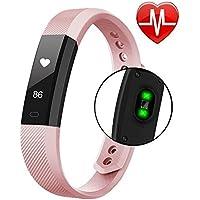Fitness Tracker Smart Watch con battito cardiaco, contapassi, contatore di calorie, chiamate, SMS, WhatsApp, touchscreen, impermeabile, per Android iOS, silenziamento, nero, rose