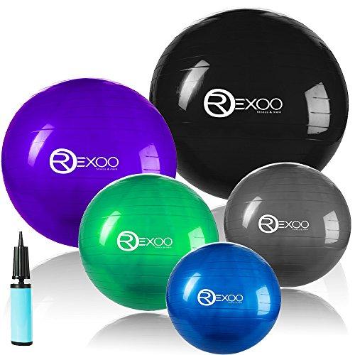 Rexoo Robuster Gymnastikball Fitnessball Sitzball Balanceball Sportball Pumpe in verschiedenen Größen und Farben, Farben:Schwarz;Größen:55cm (Körpergröße ca. 150-165cm)