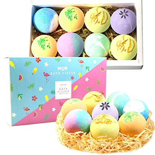 Badebomben Geschenkset Bath Bomb 8er Badekugel mit Getrockneten Blüten Ätherischem Öl für Frauen Kinder, Spa-Aromatherapie Hautpflege, Entspannung des Körper & Geist