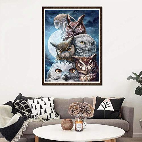 mAjglgE Diamantgemälde, 30 x 40 cm, Nachteule, Tierstich zum Basteln, Mosaik-Motiv, rund, Diamant-Gemälde -