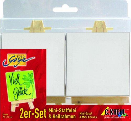 Solo Goya 68275 Minikeilrahmen, 2-er Set, 7,5 x 7,5 cm mit Ministaffelei, 7 x 12,5 cm