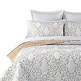 mixinni® Stil Druckdessiniert Bettüberwurf Blaue und Weiße Porzellan Serie Stickerei Quilts aus 100% reiner Baumwolle Bedspread Tagesdecke (Enthält keine Kissenbezüge) Champagner 224x234 cm