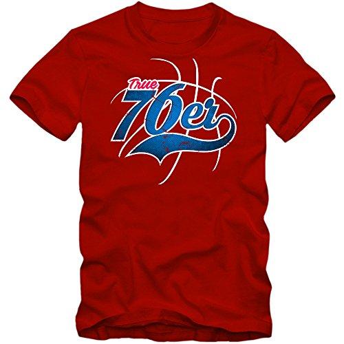 Preisvergleich Produktbild True 76er 3 T-Shirt / Herren / Basketball / Play Offs / Trikot / USA / Fanshirt / Tee,  Farbe:Rot (Red L190);Größe:XL