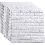 LEISIME 10PC 3D Wall Sticker Self-Adhesive Wall Panels Waterproof PE Foam White Wallpaper for Living Room TV Wall and Home De