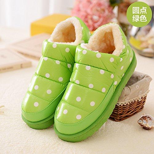 DogHaccd pantofole,Inverno impermeabile in pelle pu uomini e donne matura il cotone Snow Boots corto e fitto studenti caldo cotone piatto scarpe scarpe donna Il punto verde4