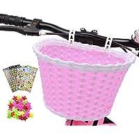 ANZOME Cesta de bicicleta para niña, manillar, cesta de bicicleta para niños con serpentinas para niños, juego de regalo para niños, color rojo rosa, S, Rosado