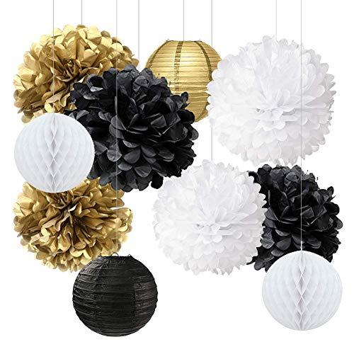 tionen Gold Schwarz Weiß Partydekorationen Kit Seidenpapier Pom Poms Blume Papierlaternen Papierwabenkugeln Party Hängende Dekorationen für 2019 Silvesterparty-Geburtstags-Party ()