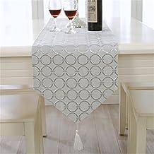 Lujo Flores cordones Camino de mesa con pared Alfombra, tejido, plata, 33 * 210cm