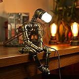 Lampe Robot Rétro Lampe de bureau industrielle Fer Tuyau de Lampadaire Lampe Lampe de chevet Chambre étude créatifs Lampe nostalgie robot Fer de la lampe grenier Lampe de table A