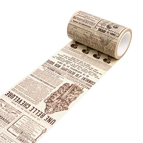 bismarckbeer Washi-Klebeband, aus Japanpapier, für Handarbeiten, selbstklebend, für Notizbücher, Skizzenbücher, als Aufkleber Einheitsgröße English Newspaper