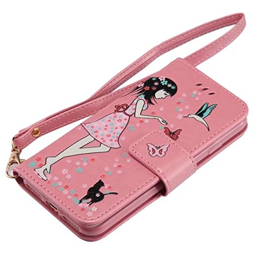 Luminous Embossing Fairy Girl & Cat Pattern Ledertasche, Folio Flip Stand Brieftasche Beutel Case Cover mit Lanyard & Card Slots & Foto Frame für iPhone 7 ( Color : Green ) Pink