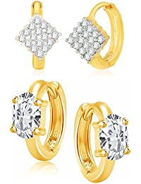 Jewels Galaxy American Diamond Gold Plated Combo Of Hoop Earrings For Girls And Women