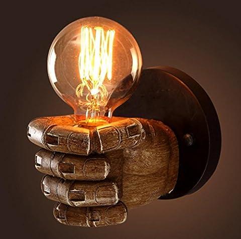 GFFORT lampe murale résine personnalité Poing chambre de chevet décorative E27, ampoule G80 rétro éclairage de couloir créatif restaurant bar, taille 11cm * 7.5cm-220v , a