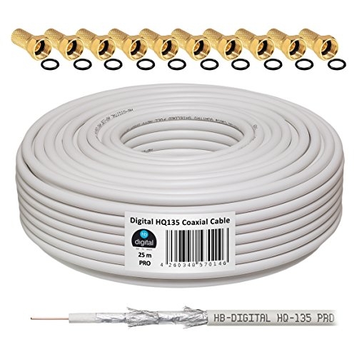 HB-DIGITAL HQ-135 PRO 25m 135dB Koaxial SAT Kabel 4-fach geschirmt Antennenkabel DVB-S/S2 DVB-C DVB-T/T2 BK Anlagen inkl. 10 vergoldete F-Stecker