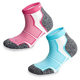 2 Pairs More Mile New York Cushioned Sports Running Socks, Pink/Light Blue, Size 2-5 UK / 35-38 EU
