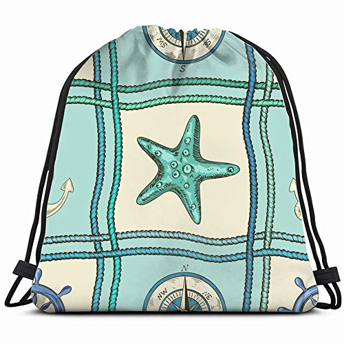 nautical patchwork ropes starfish animals wildlife fabric Drawstring Backpack Gym Sack Lightweight Bag Water Resistant Gym Backpack for Women&Men for Sports,Travelling,Hiking,Camping,Shopping Yoga (Patches Navy Cruise)