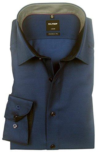 OLYMP Herren Business- und Freizeithemd mit New Kent Kragen Luxor Modern Fit Marine Blau