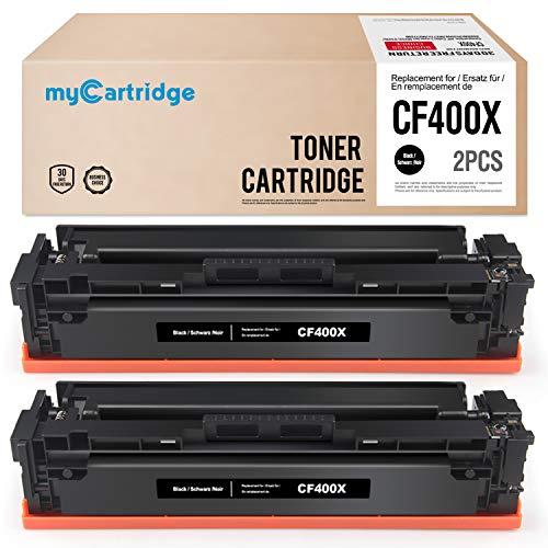 Zwei Laserjet (MyCartridge kompatibel HP 201X CF400X Schwarz Toner für HP color Laserjet Pro mfp m277dw HP color Laserjet Pro M254dw (2 Schwarz))