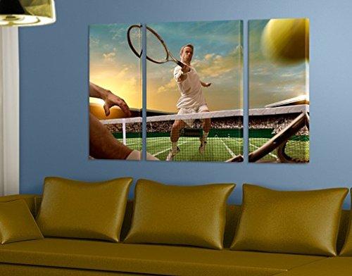 Apalis Lienzo Tríptico, diseño de jugador de tenis, cuadros en lienzo, lienzo, lienzo, lienzo, lienzo, pared arte