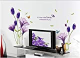 Rainbow Fox Purple Lily Flower Wall Sticker Decor Decal Art WallPaper Bathroom Removable Home Kid Living Room Bedroom