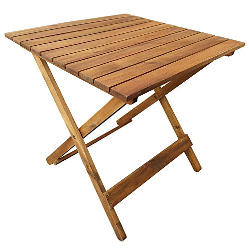 casa pura Holz Klapptisch Goa | platzsparender Beistelltisch für Terrasse und Balkon | vorgeöltes wetterfestes Akazienholz | Maße aufgebaut 50 x 50 x 50 cm
