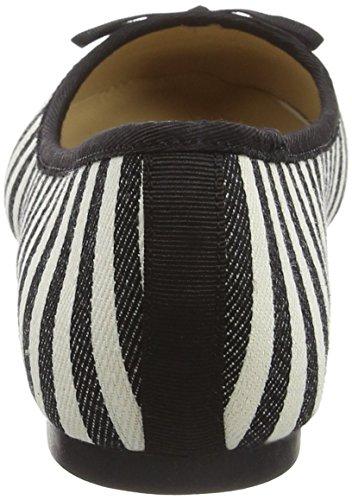 Jane Norman Flat Round Toe Mono Stripe, Ballerines femme Noir - Black (Mono)