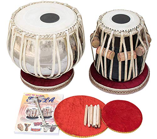 Makan 4 Kg Chromed Brass Bayan, Finest Sheesham Dayan, Tabla Drum Set Percussion Musical Instrument with Carry Bag & Cushion (Bag Drum Set)