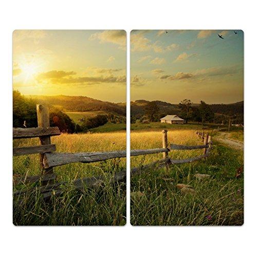 DekoGlas Herdabdeckplatten Set inkl. Noppen aus Glas 'Land und Natur', Herd Ceranfeld Abdeckung, 2-teilig universal 2X 52x30 cm (Abdeckung Land Herd)