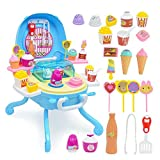 FOONEE pretend Play food Ice Cream, Toy Ice Cream cart, Ice Cream Shop Toy stand pretend Play set con luci e suoni, Fun Little set cucina set di giocattoli per bambini bambini