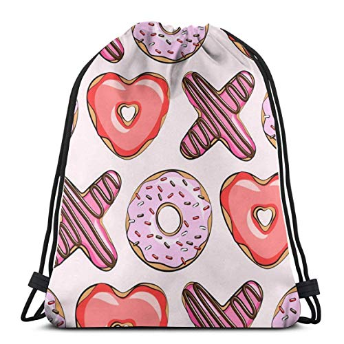 Heart Shaped Donuts Valentines Red and Pink On Pin Drawstring Backpack Bag Gym Sack Sport Beach Daypack for Girls Men & Women Teen Dance Bag Cycling Hiking Team Training 17 X 14 Inch