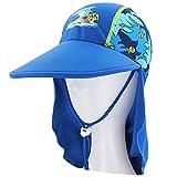 Cappello estivo per bambini, Protezione solare UPF 50+ Legionario Cap Cappuccio con cordoncino per 3-15 anni ragazze e ragazzi (Blu Squalo, 2)