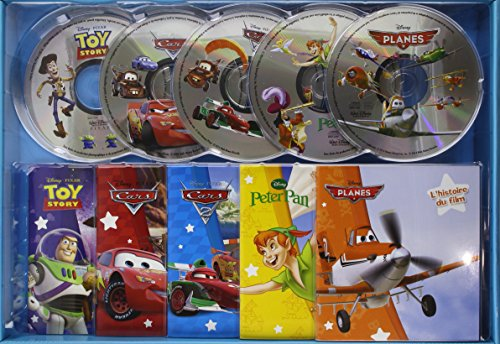 Coffret CD Cars 1 & 2, Planes, Toy Story, Peter Pan : Contient 5 livres et 5 CD (5CD audio)