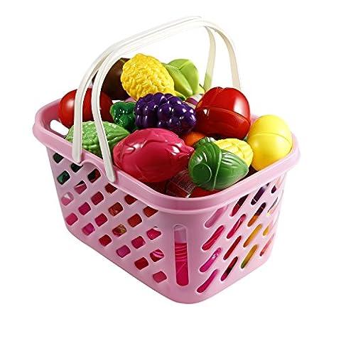 Smibie Gemüse Obst Schneiden Set aus ABS Plastik Früchte zum schneiden für Kinder Küche Spielzeug Lebensmittel mit Korb Spielset Pädagogisches Spielzeug Koch für (Küche Pretend Spielset)