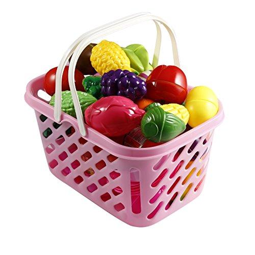 Smibie Gemüse Obst Schneiden Set aus ABS Plastik Früchte Zum Schneiden für Kinder Küche Spielzeug Lebensmittel mit Korb Spielset Pädagogisches Spielzeug Koch für Rollenspiel