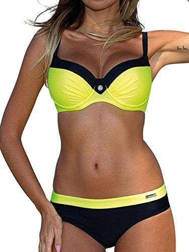 UMIPUBO Mujer Bikini Push-Up Acolchado Bra Trajes de Baño Tops y Braguitas Bikini Sets (ES 42, Estilo1:Amarillo)