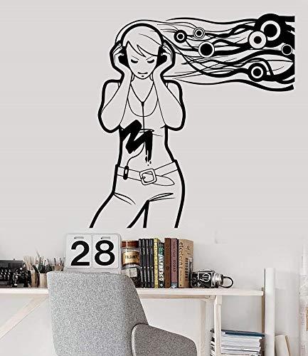 JXFY Vinyl Wand Applique jugendlich mädchen musikliebhaber Headset Applique Schule schlafsaal Poster Hause Schlafzimmer Kunst 57x60 cm -