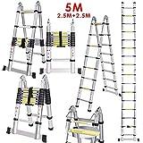 Voluker Scala Telescopica in Alluminio,5 Metri, Scala Pieghevole,Scaletta Allungabile,Carico massimo: 150 kg