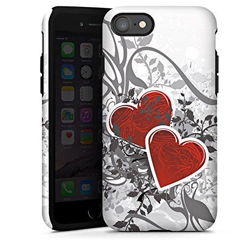 Apple iPhone X Silikon Hülle Case Schutzhülle Liebe Herz Blume Tough Case glänzend