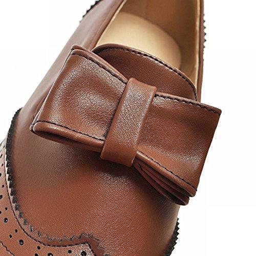 Mee Shoes Damen mit Schleife runde Niedrig chunky heels Pumps Braun