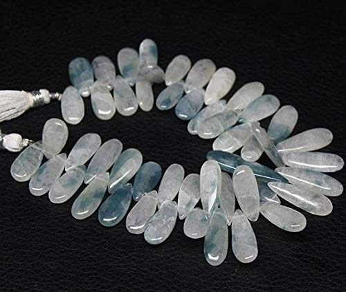 Earth Gems Park Super Fine Quality Gems Jewelry Himalayan Ice Quartz Blue Smooth Briolette Pear Drop Gemstone Craft Loose Beads Strand 8